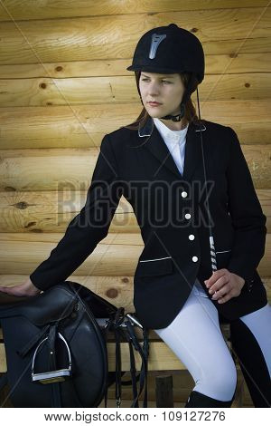 Beautiful Girl Jockey Dressing Uniform