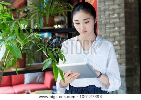 Woman Surfing The Net In Coffee Shop