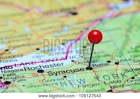 Syracuse pinned on a map of USA