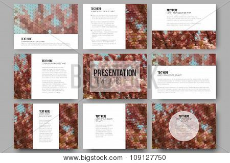 Set of 9 templates for presentation slides. Purple flowers. Abstract multicolored backgrounds. Natur