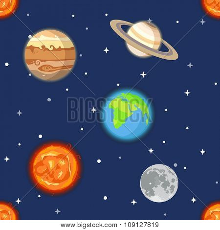 Planets of solar system seamless background