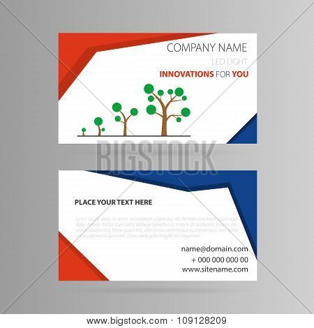 Template business card with growth icon
