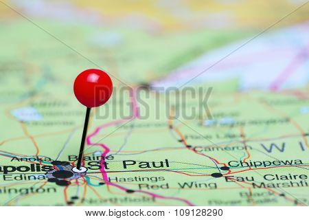 St Paul pinned on a map of USA