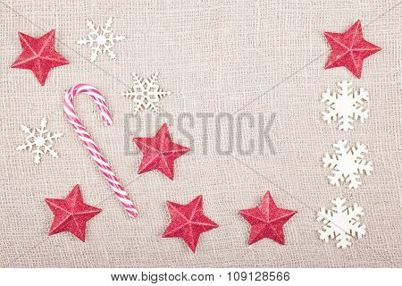 Christmas Background On Jute Fabric, Space For Text