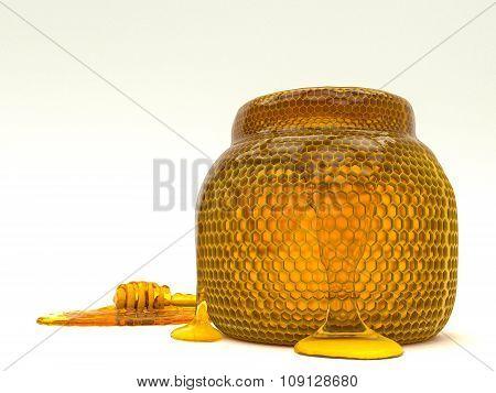 Honey dipper and bee honeycomb jar.