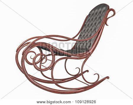 Rocking chair with leather back and seat.