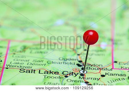 Salt Lake City pinned on a map of USA