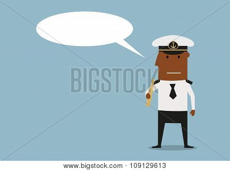 Ship captain with spyglass and speech bubble