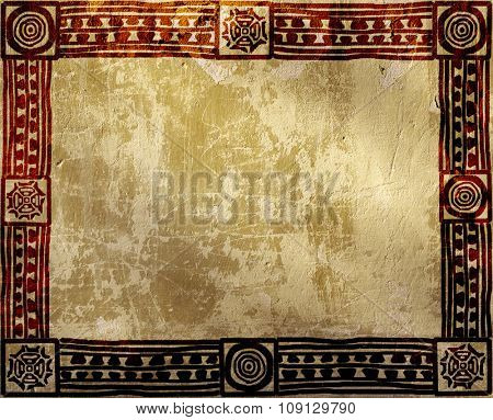 Grunge background with American Indian ethnic patterns and stucco texture