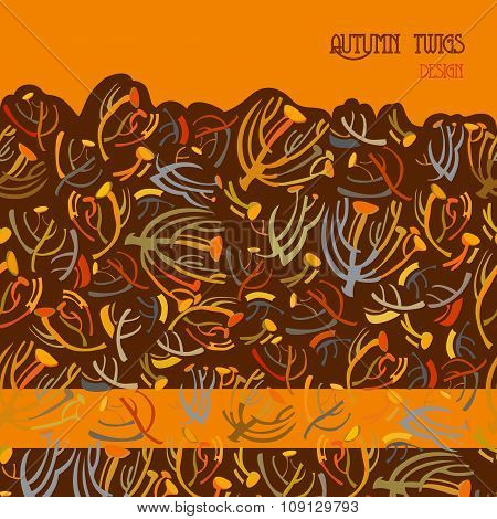 Twigs pattern. Orange brown background with border design. Text place.