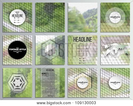 Set of 12 creative cards, square brochure template design. Nature landscape. Abstract multicolored b