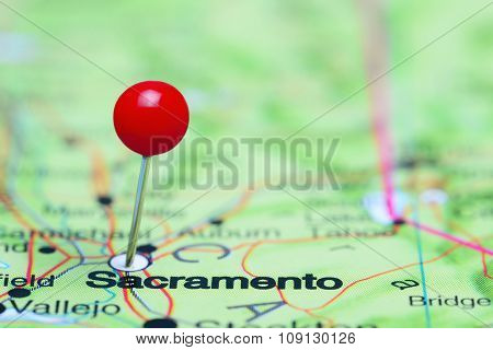 Sacramento pinned on a map of USA
