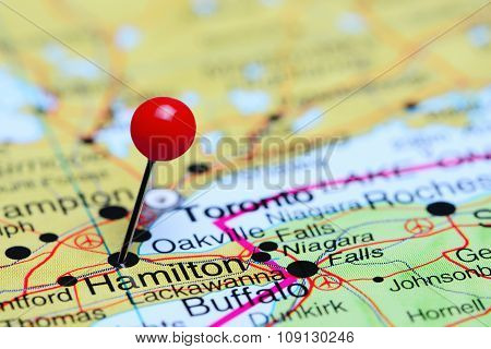 Hamilton pinned on a map of Canada