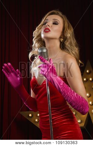 Retro Singer Sing Holding Vintage Microphone