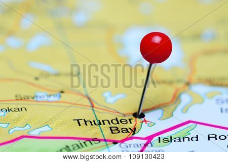 Thunder Bay pinned on a map of Canada