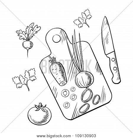 Cooking process of healthy vegetarian salad
