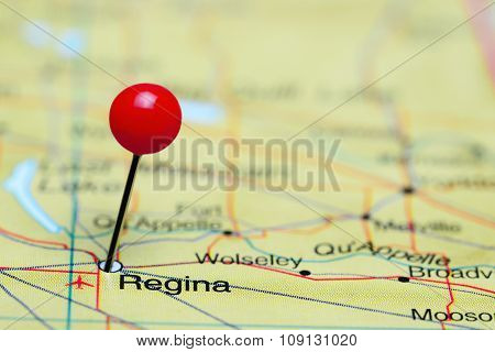 Regina pinned on a map of Canada