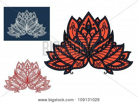 Red indian paisley flower with oriental ornament