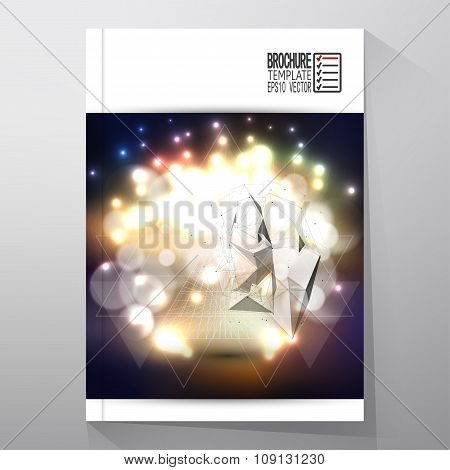 Business template for brochure, flyer or booklet. Abstract multicolored background with bokeh lights
