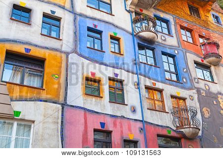 Hundertwasser House, Colorful Facade Fragment