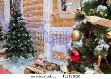 House Of Santa Claus, Christmas Trees And Reindee