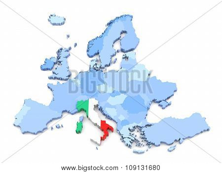 Europe Map, Italy With Flag