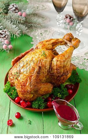 Christmas Chicken With Cranberry Sauce