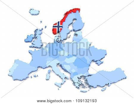 Europe Map, Norway With Flag