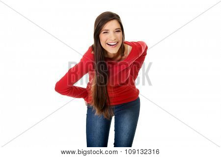 Beautiful happy laughing young student woman.