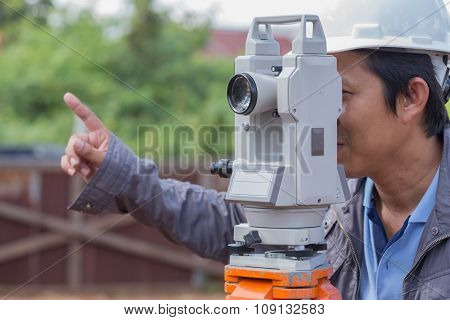 Engineers Use Tacheometer Or Theodolite For Survey Line Columns For The Construction
