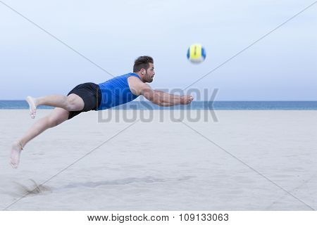 Man Playing Beach Volleyball.