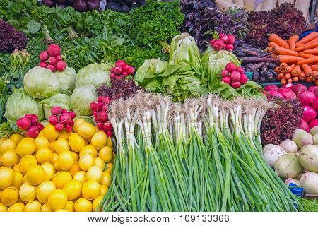 Salad and vegetables at a market