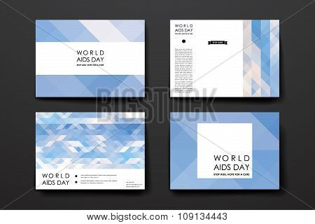 Set of brochure, poster design templates in World AIDS Day style