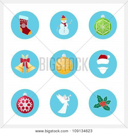 Set Of Colorful Christmas Icons