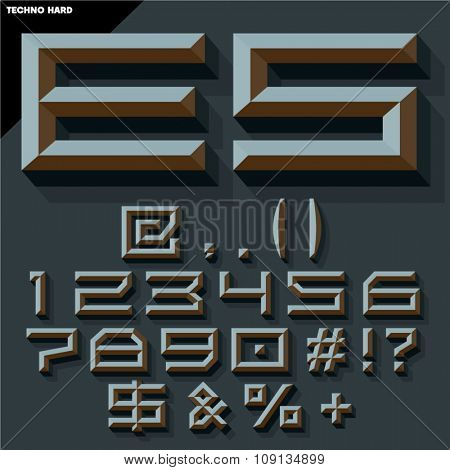 Vector 3D set of black beveled symbols and numbers in techno style with shadow. Gothic version.