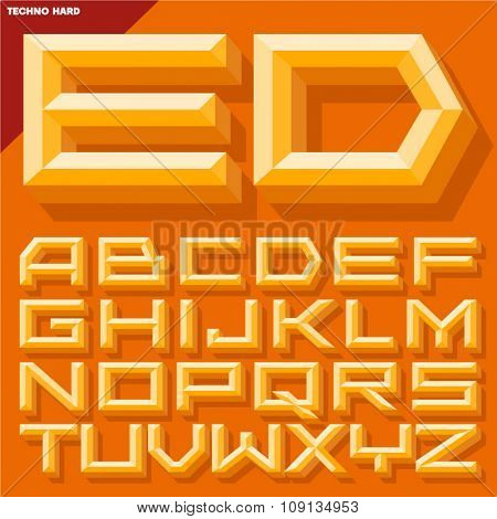 Vector 3D yellow beveled alphabet  in  techno style with shadow. Simple colored version.