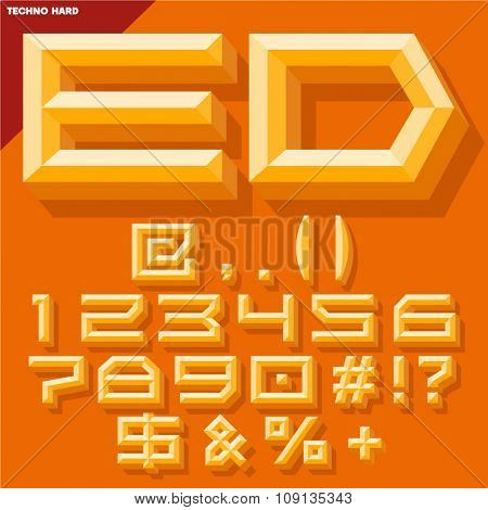 Vector 3D set of yellow beveled symbols and numbers in techno style with shadow. Simple colored version.