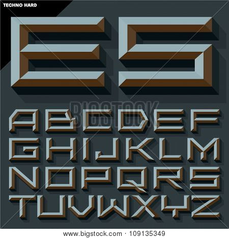 Vector 3D black beveled alphabet  in  techno style with shadow. Gothic version.