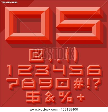 Vector 3D set of red beveled symbols and numbers in techno style with shadow. Simple colored version.