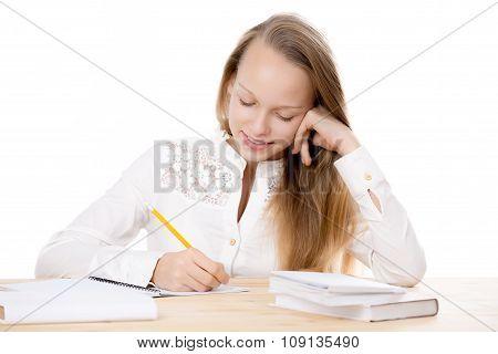 Cheerful Girl Studying
