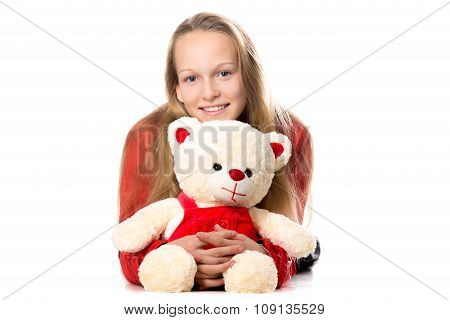 Girl Hugging Toy