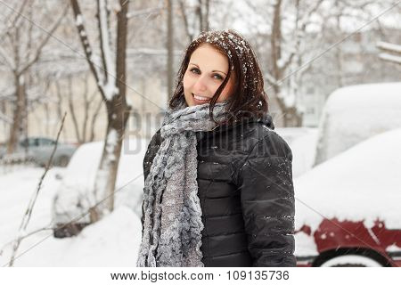 Happy Woman Walks On Snowfall