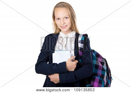 Smiling Girl With Pile Of Textbooks