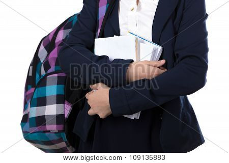 Schoolgirl With Pile Of Books