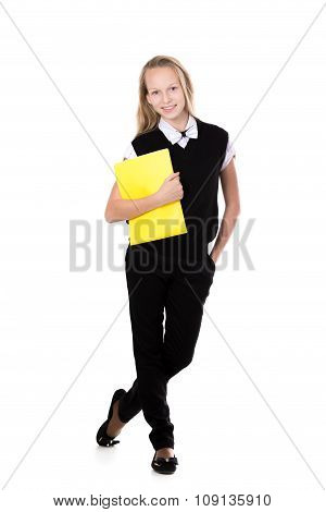 Smiling School Girl With Yellow Folder