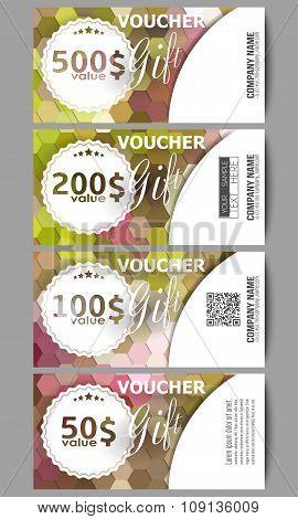 Set of modern gift voucher templates. Polygonal design vector, colorful geometric hexagonal backgrou