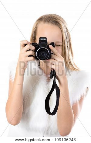 Portrait Of Happy Girl Taking Pictures