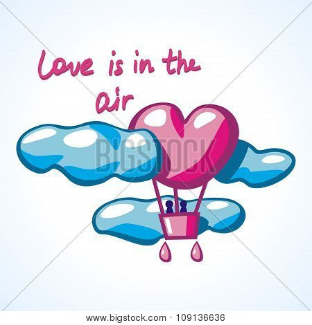 air balloon in a shape of heart in clouds