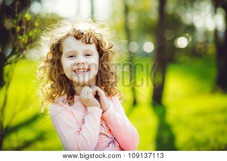 Little Sunny Girl Is Smiling.