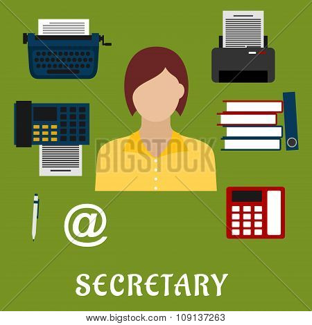 Secretary or assistant profession flat icons